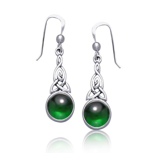 Bling Jewelry Celtic Knots Round Emerald Color Dangle Earrings 925 Sterling Silver