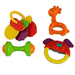 ToyTree Non Toxic Baby Toys Rattle Set Of 4 Pieces For Infants And Toddlers - Multi Color