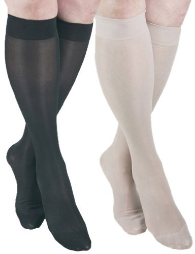 ITA-MED Sheer Knee Highs, Compression (23-30 mmHg) Nude/Black, Small, 2 Count