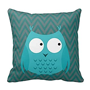 Standard Throw Pillow Cover Sizes : Amazon.com: Kids Teal Owl Chevron Throw Pillow Standard Size 16 X 16 Design Pillow Case Cover ...