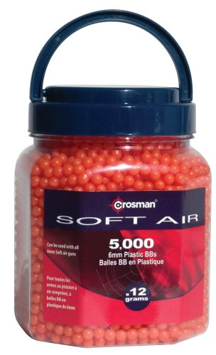 Crosman 6mm plastic airsoft BBs, 0.12g, 5000 rds, orange