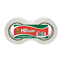 "Duck Brand HD Clear High Performance Grade Packaging Tape, 1.88"" x 109.3 Yards, 2.6 Mil, Crystal Clear, 2-Pack (305435)"