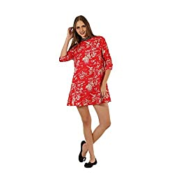 Red Printed Embellished Neck wowww Western Dress For Women