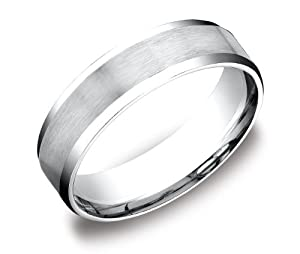 Men's Platinum Flat Comfort-Fit Wedding Band with Satin Center and High-Polish Beveled Edges (6 mm), Size 9.5