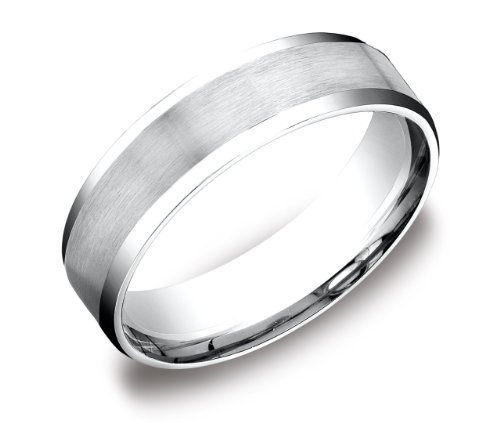 Men's Platinum 6mm Flat Comfort Fit Wedding Band Ring with Satin Center and High Polished Beveled Edges Size 10
