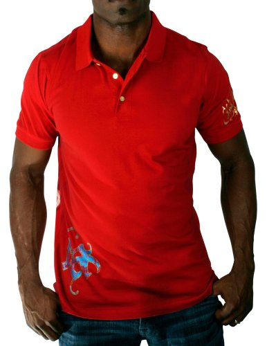 6a4ee5303d6 CHRISTIAN AUDIGIER Ed Hardy Mens Smoking Gun Pique Polo Shirt Top Red Size  XL