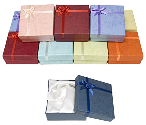 Novel Box® Cardboard Jewelry Bangle Gift Boxes With Rosebug Bows in Assorted Colors 3.5X3.5X1