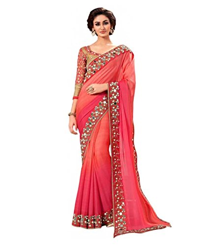 Swastik Women's Clothing Designer Saree Party Wear Low Price Sale Offer Mirror Work Georgette Free Size With Blouse
