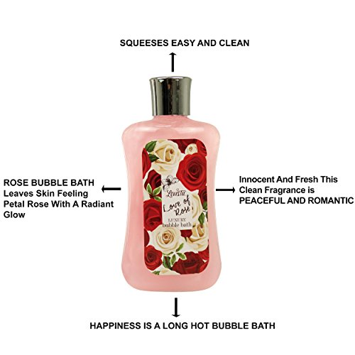 Love of Rose Luxury Spa Gift Set By Lovestee - Bath and Body Gift Basket, Gift Box, Includes Luxury Shower Gel, Bubble Bath, Sensual Body Lotion, Bath Salt, Red Bath Puff and a Heart Shape Fizzer