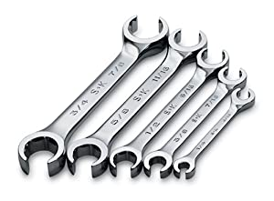 SK+Hand+Tools SK 386 SuperKrome 1/4-to-7/8-Inch 15-Degree 6-Point Offset Flare Nut Wrench Set, 5-Piece