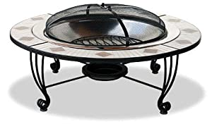 Decorative ceramic tile outdoor fireplace with stainless bowl (Discontinued by Manufacturer)