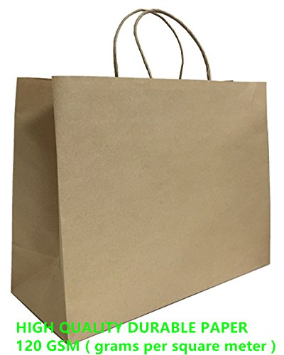 Mistmo 16X6X12 inch-10 Pc Premium Paper Bag (120GSM), Gift, Shopping, Merchandise, Grocery, Recycle Kraft Handle Bags, BROWN (Extra Large Merchandise Bags compare prices)