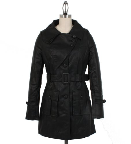 Romeo & Juliet Couture Cargo Pocket Leather Trench Coat in Black