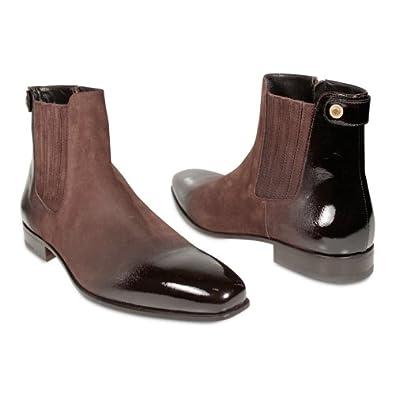 Amazon.com: Cesare Paciotti Mens Shoes Two Tone Boots Suede & Patent
