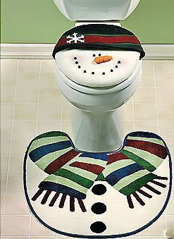Snowman Bathroom Toilet Seat Cover Snowmen Rug Decor