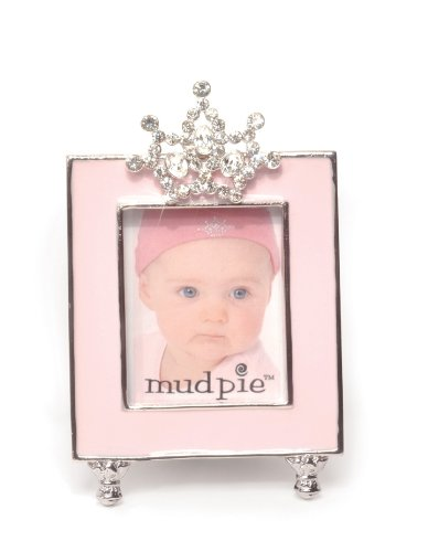 Mud Pie Baby Little Princess Jeweled Pink Enamel Photo Frame, Tiara