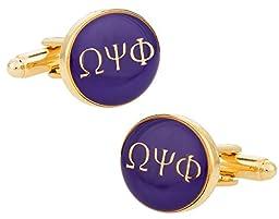 Cuff-Daddy Omega Psi Phi Purple Gold-Tone Cufflinks