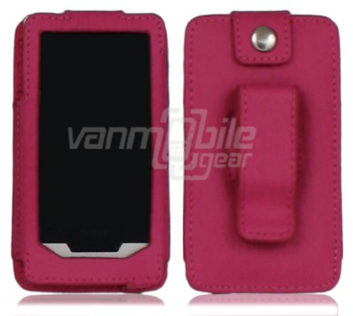 Vmg Leather Holster Belt Clip Carrier Case Cover For Microsoft Zune Hd - Hot Pink (With Lcd Screen Cutout For Easy Direct Access To Touch Screen) *** Fire Sale, Closeout Price ***