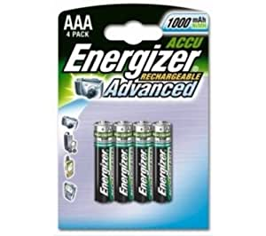 Energizer Battery Rechargeable Advanced NiMH Capacity 1000 mAh LR03 1.2V AAA Ref 627948 [Pack of 4]