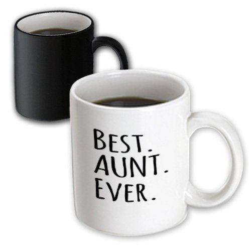 3Drose Best Aunt Ever, Family Gifts For Relatives, Black Text, Magic Transforming Mug, 11-Oz