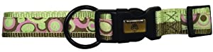 Hamilton Spumoni Collection 5/8-Inch Wide Adjustable Dog Collar, 12-Inch to 18-Inch, Bubbles