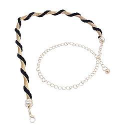 SRI Designer Girls,Womens Causal, Party Waist Belts (Gold With Black)