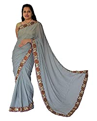 CDS Women's Crepe Georgette Saree - (Grey)