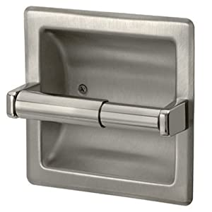Brushed nickel recessed toilet paper holder includes rear mounting bracket - Recessed brushed nickel toilet paper holder ...