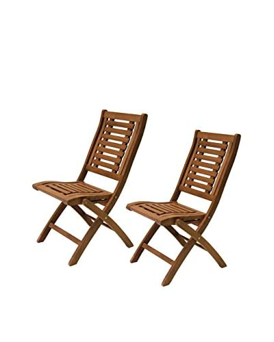 Outdoor Interiors Set of 2 Eucalyptus Folding Side Chairs, Brown