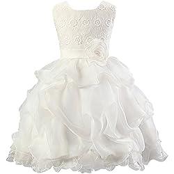 La Vogue-Vestito Bambina di Cotone Misto Vestito Fiore per Ballo e Festa Bianco Petto di 59cm