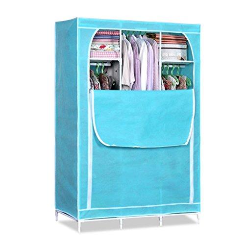 simple simple garde-robe tissu armoire acier d'armature en acier épais NPC No. placard assemblé armoire pliage non-tissé ( couleur : Bleu )