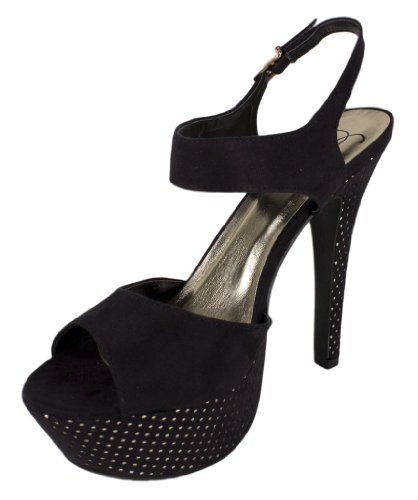 Boatie! By Delicious Platform High heeled Ankle Strap Dress Sandals in Black