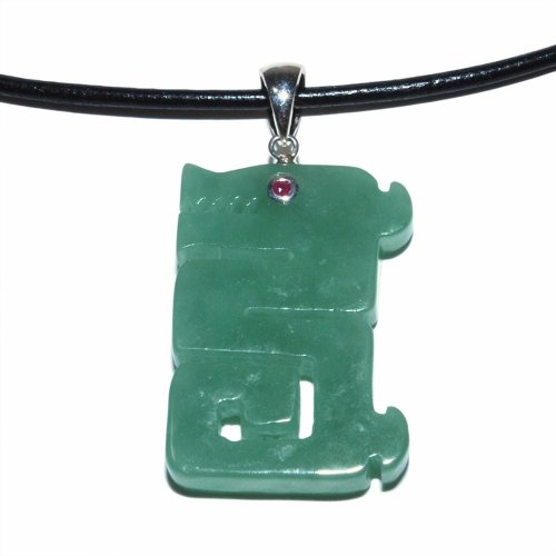 Sterling Silver Stylized Green Jadeite and Ruby Dragon Pendant Necklace on Leather Cord, 18