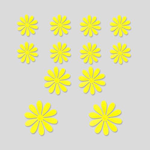 3D flower soggiorno TV parete di sfondo figurine più piccolo armadio a muro porte cucine decorazione sticker disposizione della classe,01 giallo limone,grandi