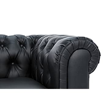 Classic Scroll Arm Tufted Bonded Leather Chesterfield 2 Seater Loveseat (Black)