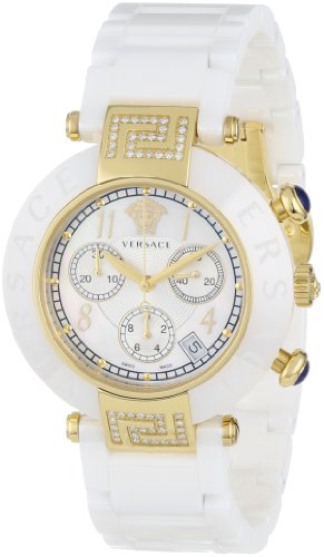 Versace Women's 95CCP11D497 SC01 Gold Ion-Plated Stainless Steel and White Ceramic Diamond Watch