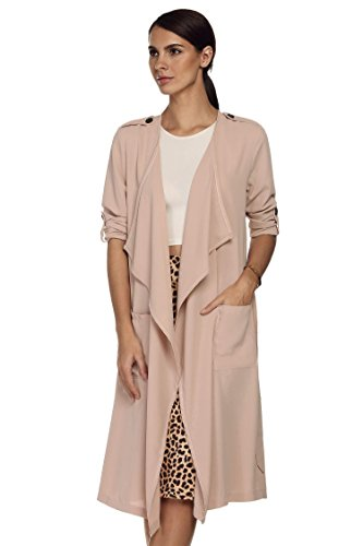 Meaneor Women's Long Waterfall Draped Long Sleeve Chiffon Cardigan with Belt Nude XL
