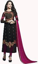 Shree Sai Exports Women's Georgette Unstitched Dress Material (Black)