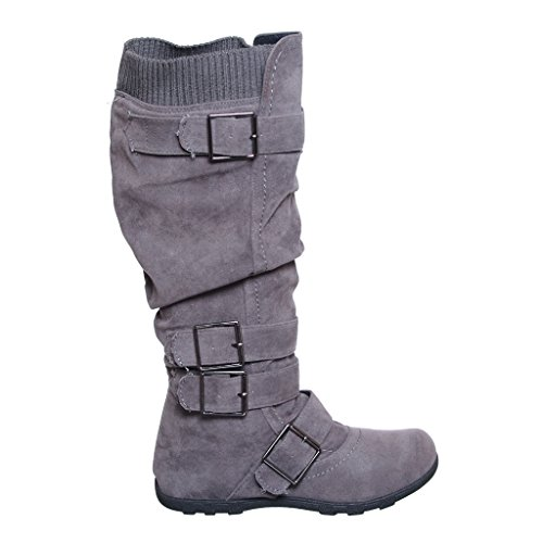 Buckle Sweater Knee High Boot (8, Grey_New) [Apparel]