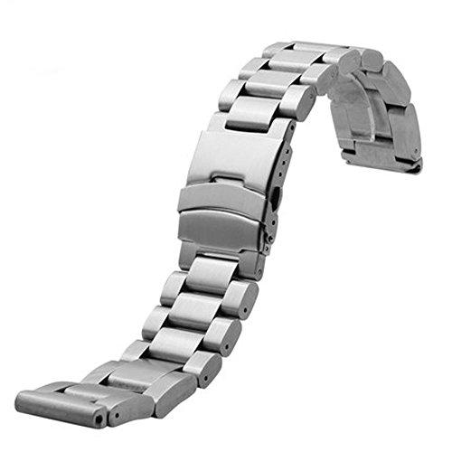 YISUYA 22 mm, in acciaio INOX, 2,2 cm, Cinturino per orologio da polso, con chiusura a moschettone in acciaio, da uomo, con cinghia, colore: argento