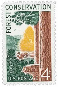 #1122 - 1958 4c Forest Conservation Postage Stamp Numbered Plate Block (4)