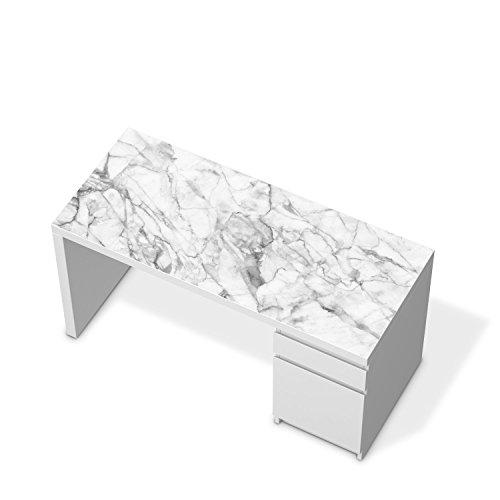 Mbel-Folie-Sticker-fr-IKEA-Malm-Schreibtisch-Tischplatte-Dekoraufkleber-Design-Mbelfolie-selbstklebend-Zimmer-stylen-Wohnidee-Design-Motiv-Marmor-wei