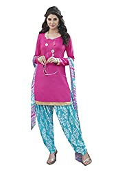 Ishin Cotton Pink & Blue Printed Unstitched Dress Material