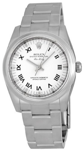 Rolex Airking White Roman Numeral Dial Domed Bezel Mens watch 114200WRO