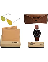 Combo Pack Of YuniiQ Beige Color Wallet With Golden Reflectors With Black Dial Classey Watch.