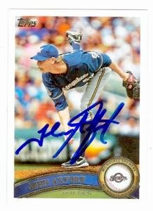 John Axford autographed Baseball Card (Milwaukee Brewers) 2011 Topps #591