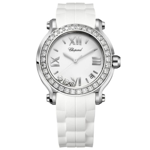 Chopard Women's 278475-3018 Happy Sport Round Diamond Bezel Watch