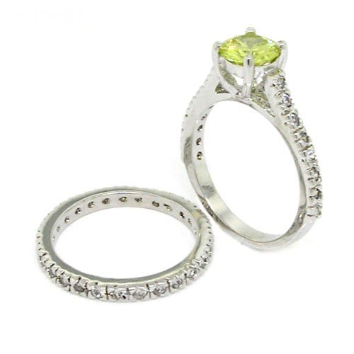Classic vintage wedding ring set w peridot white czs size for Peridot wedding ring set