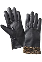 Merona Womens Black Leather Gloves with Brown Leopard Print Bottoms