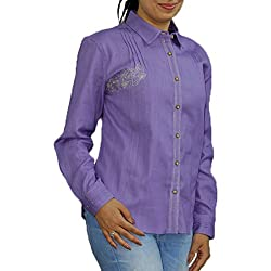 Purple handwoven Khadi Designer Shirt